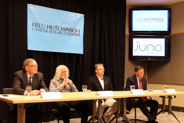 Juno Therapeutics holds a press conference last December to announce the company's formation. From left to right: Juno co-founder Dr. Larry Corey; Juno founding scientist Dr. Phil Greenberg; Juno founding scientist Dr. Michael Jensen; Michael Burns, Alaska Permanent Fund Corp. Executive Director.