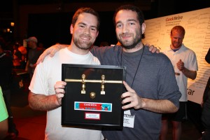 Preston Holland and Keegan Runnals of BrandVerity won the foosball championship.