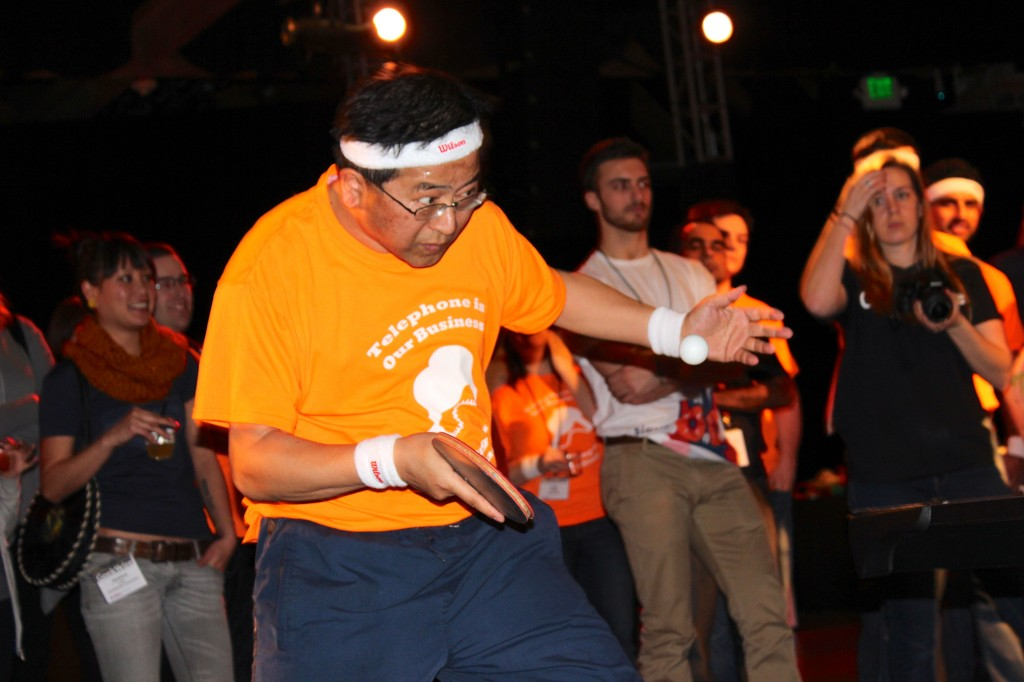 Tetsuo Kasahara of Flowroute flew in from Japan just for the GeekWire Ping-Pong Bash.