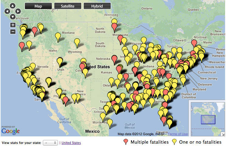 WhitePages CEO Spreads Awareness About School Shootings With - Us gun murders map