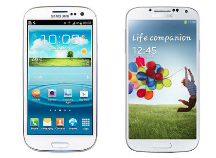 Samsung Galaxy S3 on the left, and the new Galaxy S4 on the right.