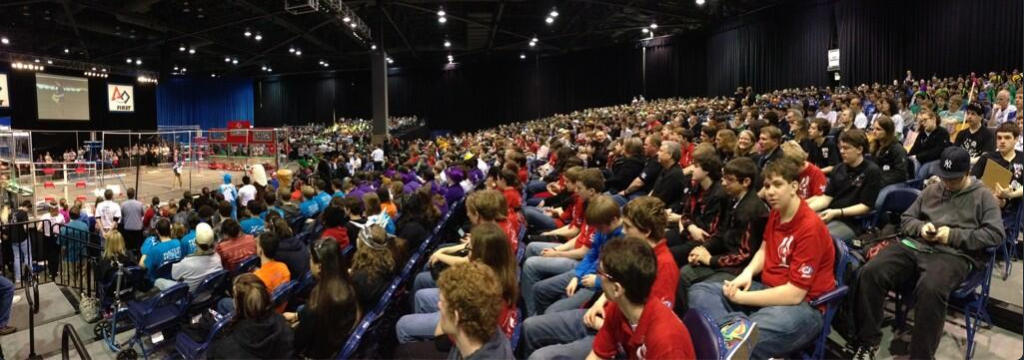 The opening ceremonies at the FIRST Robotics competition in Seattle. Photo via Twitter @first_wa.