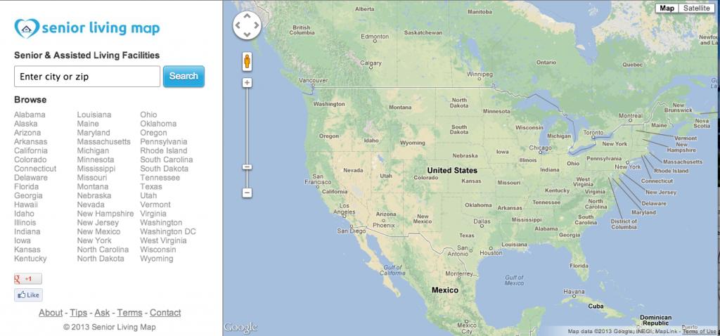 Senior Living Map, the website Hanson created.