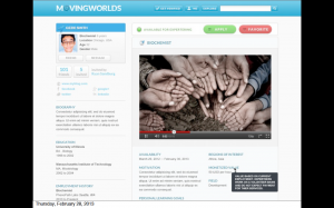 Screen shot of the MovingWorlds beta site. An example of an organization's profile.