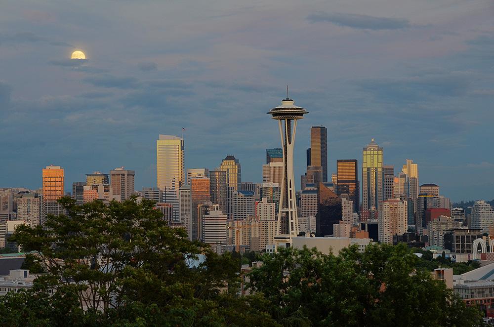 Seattle Skyline Super Moon