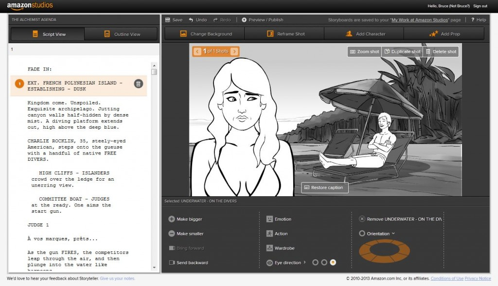 Amazon Launches Free Movie Storyboard Tool With A Catch  Geekwire