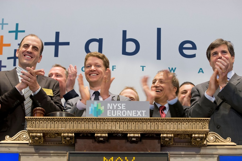 Happier times on Wall Street for Tableau as execs celebrate their May 2013 IPO