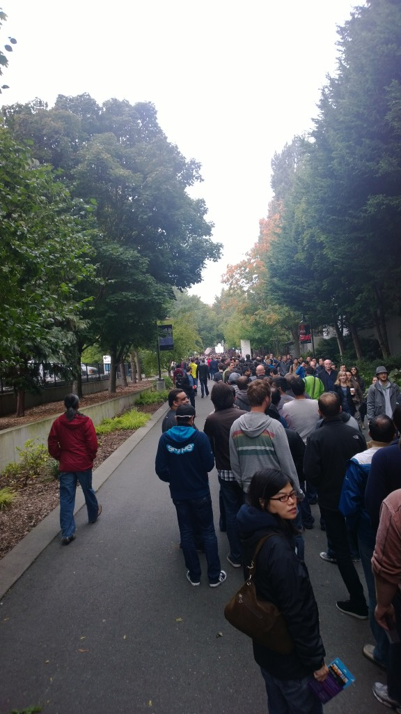 Microsoft employees in line for the annual company meeting at Key Arena. Photo via Bob Ulrich.