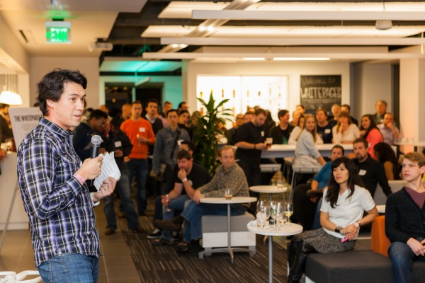 WhitePages CEO Alex Algard speaks at the company's party to celebrate its renovated office space.