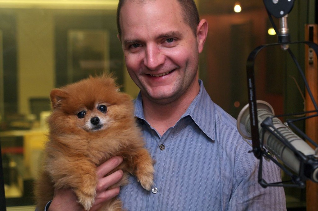 Rover.com CEO Aaron Easterly with Caramel on the GeekWire podcast. Photo: Erynn Rose