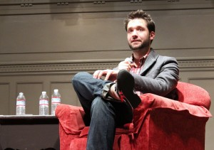 Reddit co-founder Alexis Ohanian is interviewed by GeekWire's Todd Bishop at Town Hall in Seattle Oct. 14