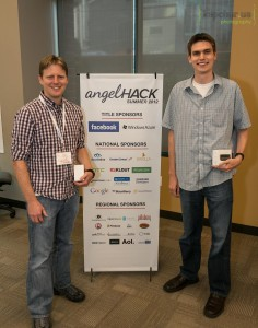 Team Appetas after winning the Seattle AngelHack Keller (left) and Curtis (right).