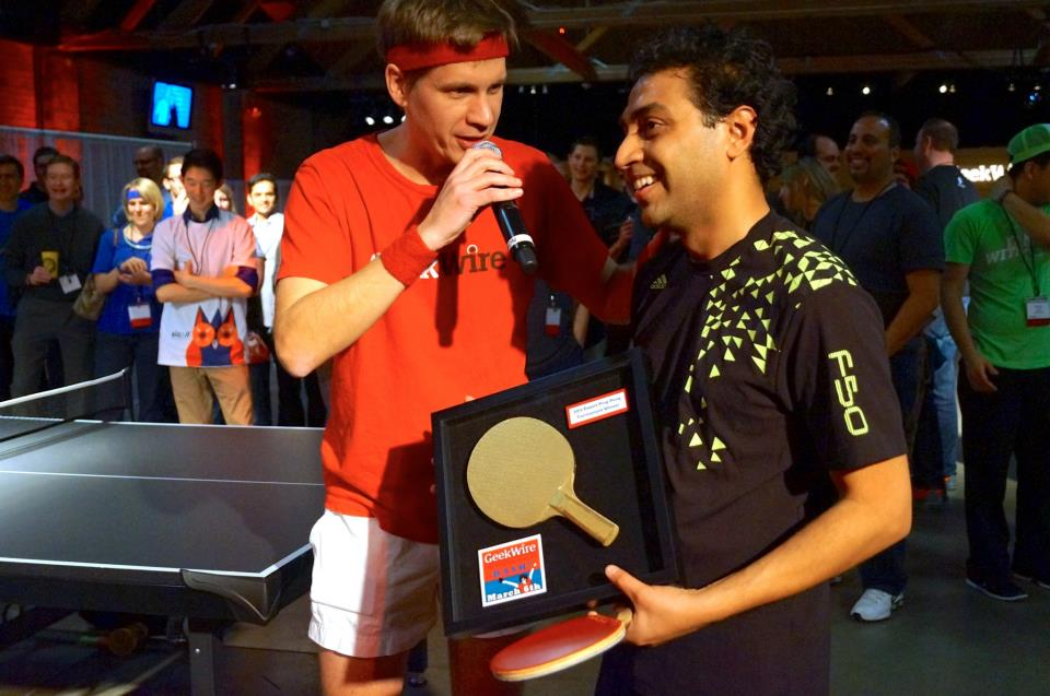 GeekWire's John Cook interviews Avi Cavale after the Shippable CEO won the 2013 GeekWire Ping Pong Tournament.