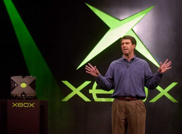 Robbie Bach with the original Xbox. (Microsoft photo)