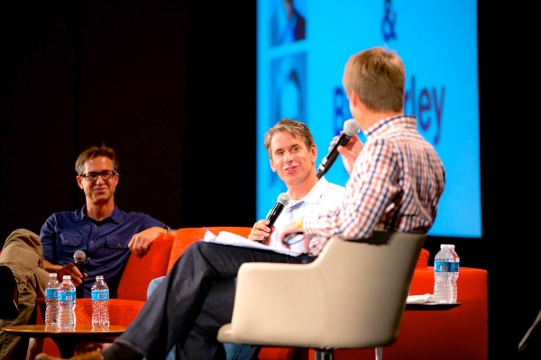 Rich Barton (left) and Bill Gurley speak with GeekWire's John Cook at the 2013 GeekWire Summit.