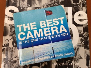 """""""The Best Camera is the One That's With You"""" was Chase Jarvis' first book. Seattle 100, a book of portraits of notable Seattleites, was his second. (Photo: Mónica Guzmán)"""