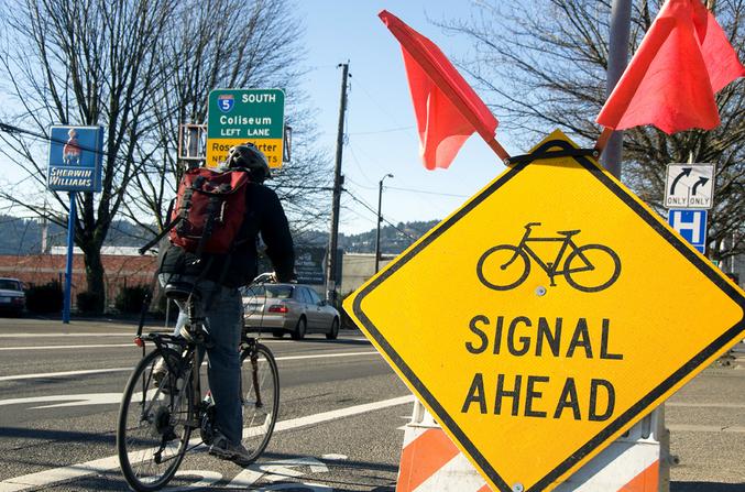 Biking in Portland. Photo via Oregon DOT