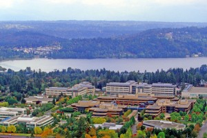 An aerial view of Microsoft's Redmond campus. (Microsoft image.)