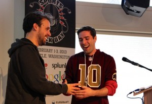 Carter Rabasa (right) at Sports Hack Day.
