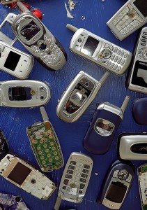 Old cell phones. Photo via David Ohmer