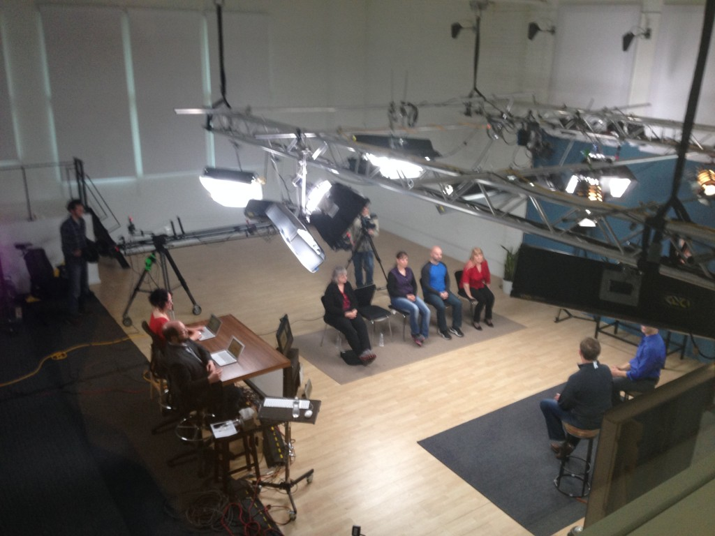 A health and wellness program in the main studio at CreativeLive in Seattle.