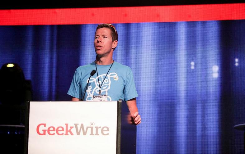 Chris DeVore keynoting the 2013 GeekWire Awards.