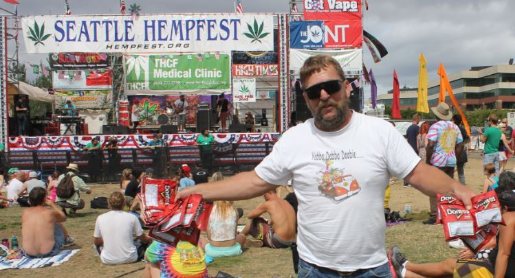 This lucky Hempfest attendee landed several Doritos bags from local police. Photo via Ebay user 1952geezer.