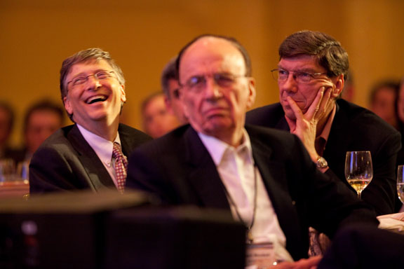 Bill Gates, Rupert Murdoch and Clayton Christensen at a past Microsoft CEO Summit. (Microsoft file photo)