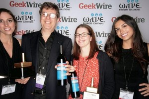 Geek of the Year award winners Oren Etzioni of the University of Washington and Dr. Rebecca Gardner of Seattle Children's Research Institute, with category sponsors Ali Kramer, right, and Kersa Leichner, left, of Barokas PR.