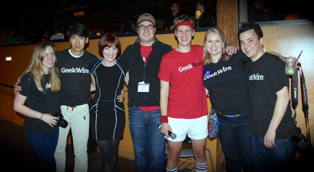 The GeekWire team at the ping pong bash: Editorial Intern Lily Katz; Chairman Jonathan Sposato; Cultural Attache Emily Shahan; co-founder Todd Bishop; co-founder John Cook; Chief Saes Geek Sarah Camp; and Staff Reporter Taylor Soper