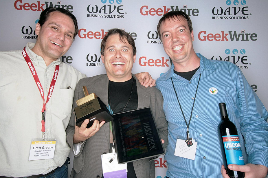 Category sponsor Brett Greene of Fresh Consulting with Haiku Deck founders Adam Tratt and Kevin Leneway, winners of App of the Year.