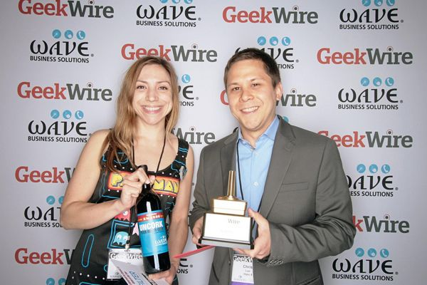 "Mary Blalock, creative recruiter at Filter, category sponsor for ""Game of the Year,"" with Chris Lee, director of production on Halo 4."