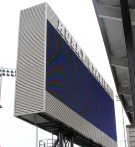 Up close and personal with the new big-screen at Husky Stadium. Photo via GoHuskies.com.