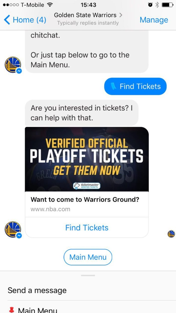 Golden State Warriors launch Facebook Messenger bot for fans to use