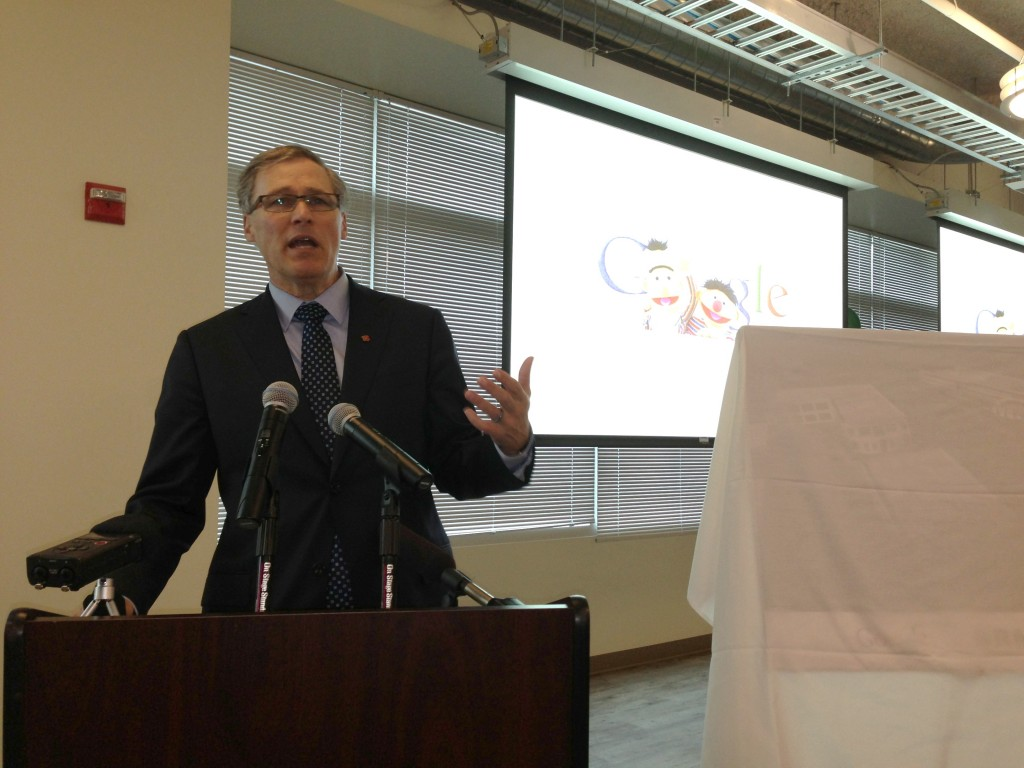 Washington governor Jay Inslee speaking at Google Kirkland on Tuesday.