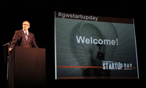 Gov. Jay Inslee delivers the opening address at  the 2013 GeekWire Startup Day, where he laid the groundwork for investing more in the state.