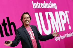 T-Mobile CEO John Legere introduces the company's JUMP upgrade plane. (T-Mobile US image)