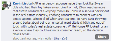 Seattle real estate agent Kevin Lisota posted this message on a Facebook group today about the NAR's 'childish' response.