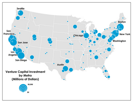This Map Shows Where Venture Capital Dollars Are Flowing In The - San francisco on the us map