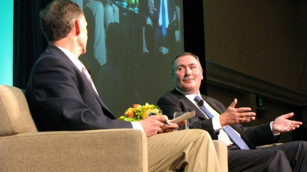 John McAdam, right, interviewed by Ed Lazwoska, at the Tech Alliance luncheon in Seattle
