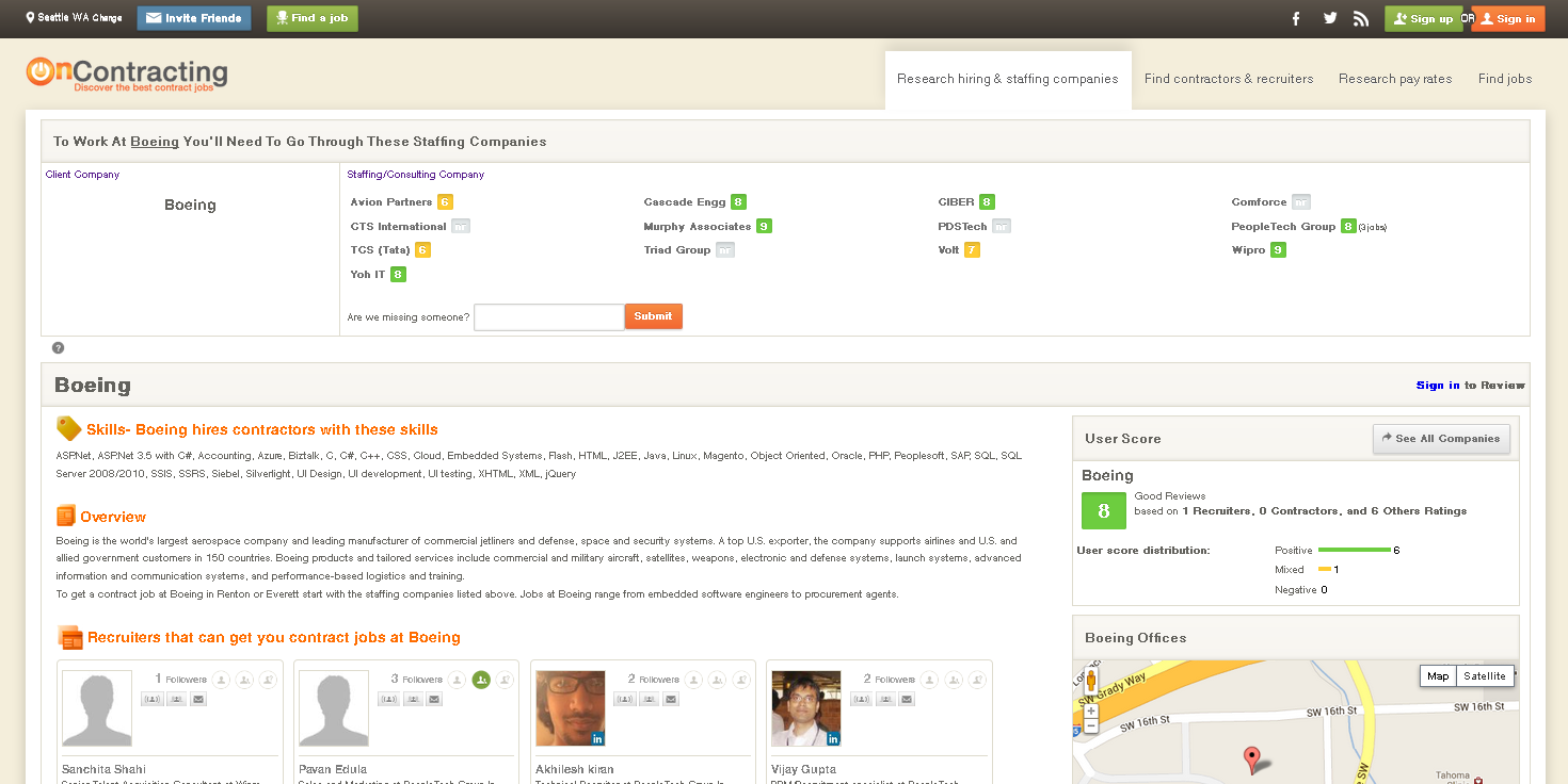 oncontracting-Client and Staffing company screenshot