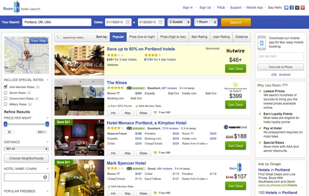 A Search For Portland Hotels On Room 77
