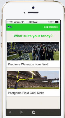 The Seahawks also partnered with Experience this season, allows fans to browse fun experiences.