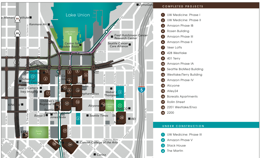 Amazon South Lake Union Campus Map.Paul Allen S Vulcan Looks To Sell Amazon Com Campus Geekwire