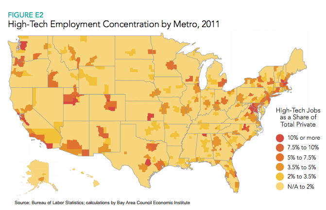 Map Heres Where Tech Jobs Are Concentrated In The US GeekWire - Us Map By Job Avalability