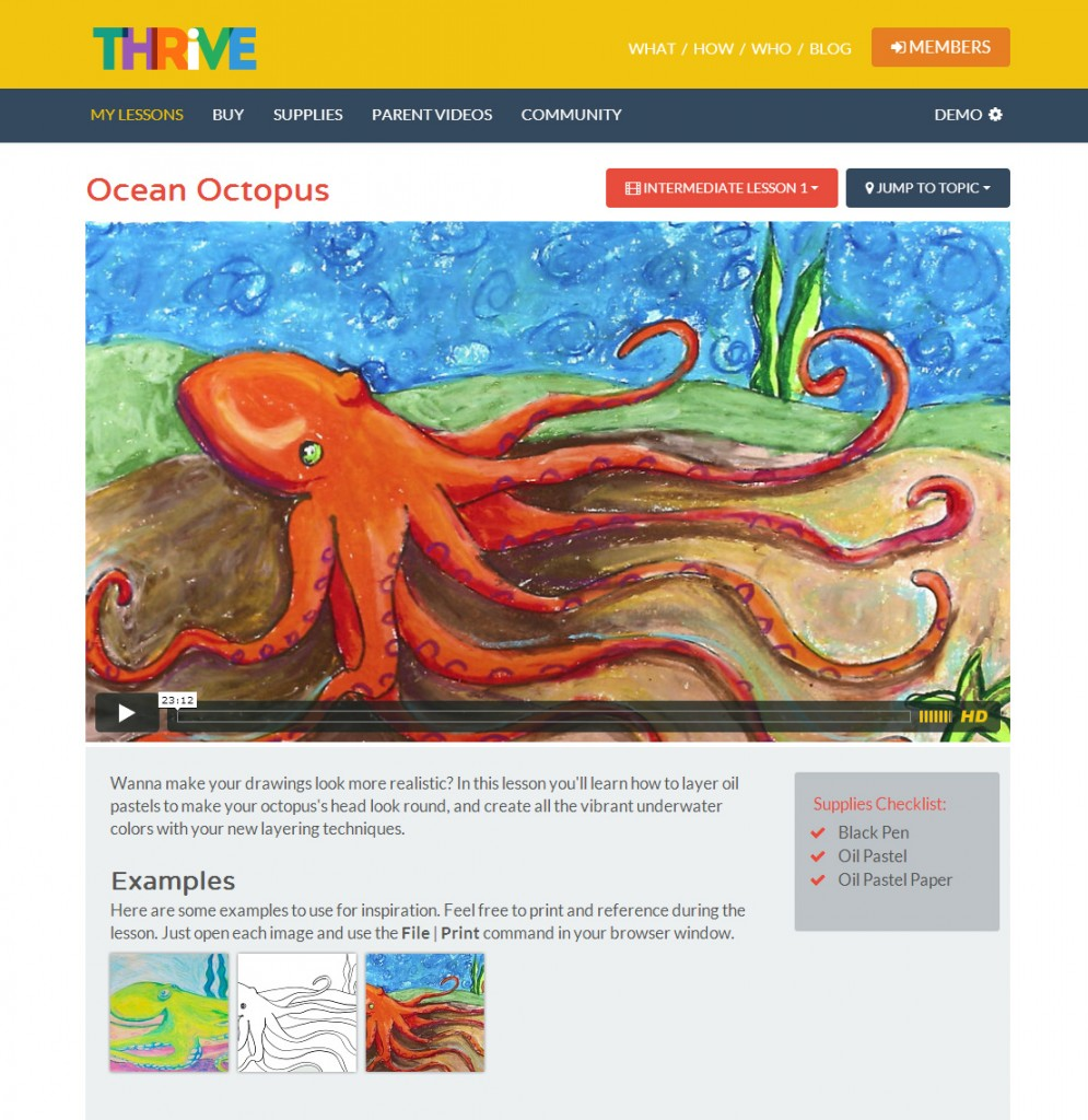 A Thrive lesson page