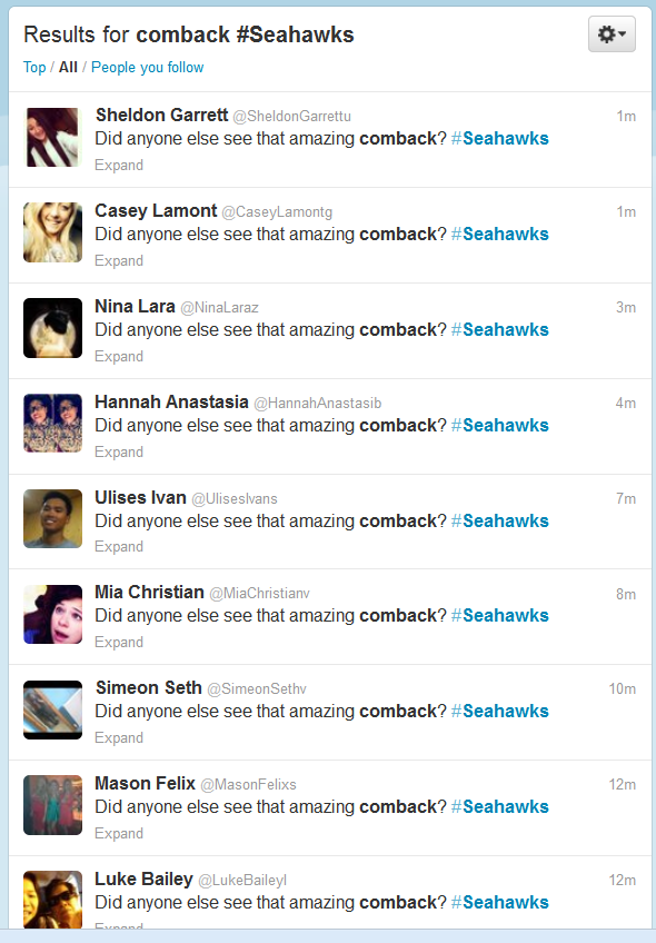 Oops: Seahawks caught using Twitter bots to promote #Seahawks hashtag (updated with team comment)