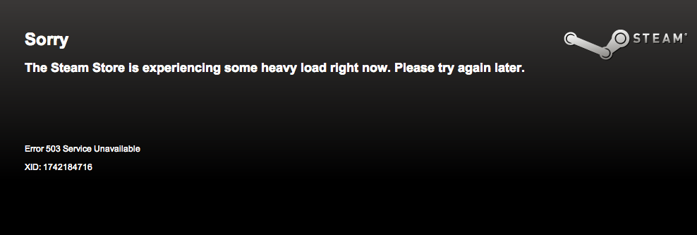 The Steam Store was down for a short period of time on Thursday.