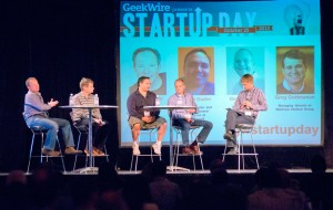 Venture capitalists Frank Artale of Ignition; Greg Gottesman of Madrona; and Seattle super angels Rudy Gadre and Geoff Entress at Startup Day. Moderator John Cook at right. Photo: Eugene Hsu.