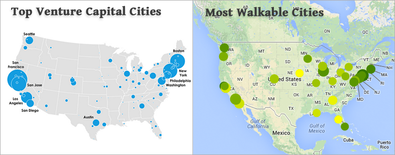The Maps Show That Startups And People Who Want To Work At Startups Prefer Walkable Cities Walk Score Co Founder And Cto Matt Lerner Told Us